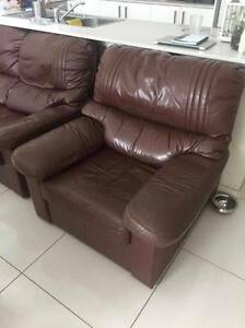 Brown leather lounge Campsie Canterbury Area Preview