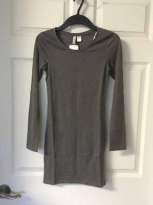 Nwt H M Divided Women Teen Tunic Dress Shirt Top Gray Grey Xs