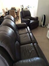 Brown leather lounge Lake Illawarra Shellharbour Area Preview