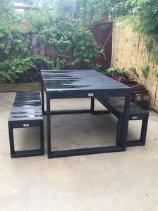 Free - black outdoor timber table and chairs Cardiff Lake Macquarie Area Preview