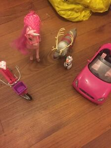 Barbie dolls plus car, bike, unicorn, Sven and Olaf Nunawading Whitehorse Area Preview