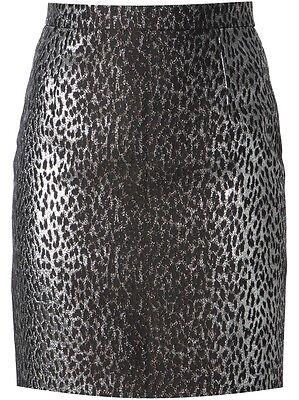 Saint Laurent YSL (Hedi Slimane) Silver Leopard Babycat Jacquard Skirt Size 40