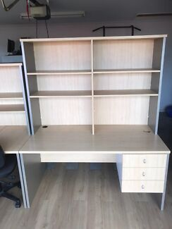Straight Desk with drawers and hutch.