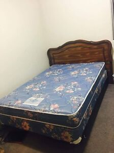 double sized mattress, box spring, and bed frame