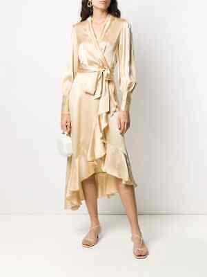 Zimmermann Super Eight Wrap Champagne Midi Dress 3 US 8-10 NWT $630