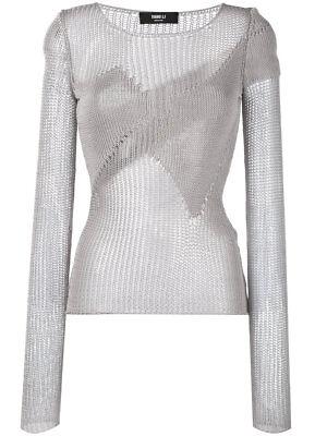 $538 YANG LI Italy Fisherman Knit Blouse Size EU 40 / Medium in gray