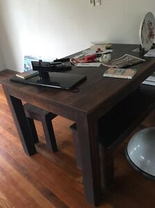 Wooden bench seat table Ashmore Gold Coast City Preview