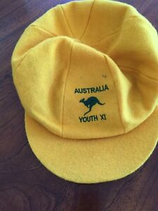 2 x Baggy Yellow Australia Youth XL Caps $15 each Essendon Moonee Valley Preview