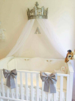 Used, Nursery Decor Baby Girls Large Cot Bow Princess Bedding Set Grey x 3 Bows for sale  Shipping to South Africa
