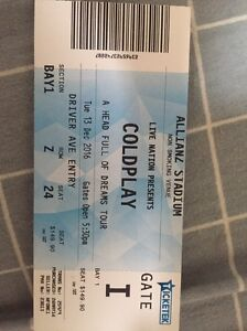 Coldplay Tickets - A head full of dreams tour Rockdale Rockdale Area Preview