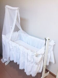 White vintage wooden baby rocking cradle Carine Stirling Area Preview