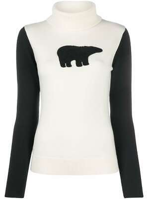 PERFECT MOMENT Polar Bear merino wool turtleneck sweater navy blue Large