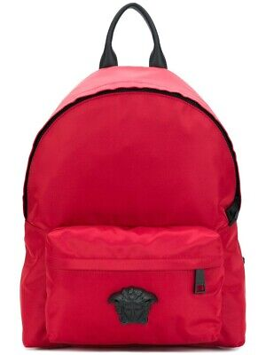 ART TO WEAR...THE EXQUISITE Versace 1.2K Medusa Nylon Red Large Backpack BAG