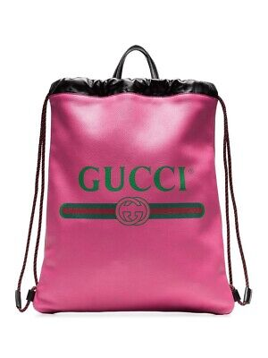 New With Tags Gucci Pink Leather Vintage Printed Logo Drawstring Bag $1590.00