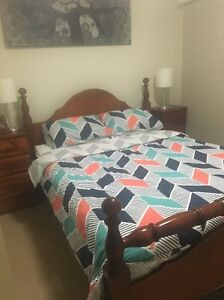 Queen size timber bed and bed side tables Rowville Knox Area Preview
