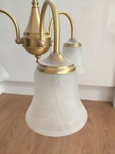 Brass period style, 3 globe pendant ceiling light, frosted shades Unley Unley Area Preview
