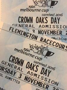 2 x Oaks Day Spring Carnival Tickets Flemington Brunswick East Moreland Area Preview