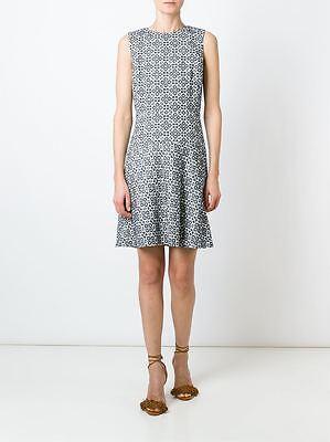 TORY BURCH Textured Burlap Geometric Print Flared Dress Size 12 NWT $395