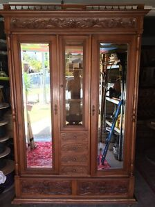 Antique French Oak Armoire/Wardrobe REDUCTION NOW $850 was $1000 McDowall Brisbane North West Preview