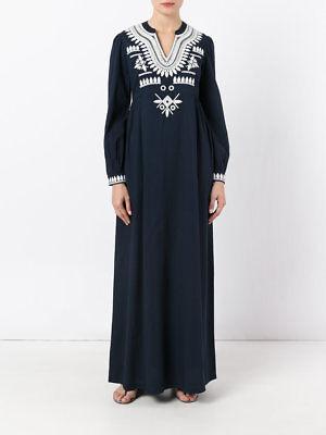NEW TORY BURCH Navy Blue Keegan Embroidered Cotton Tunic Kaftan Maxi Dress 6 S