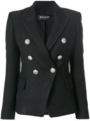 BALMAIN Honeycomb Cotton-Blend Double-Breasted Blazer