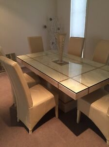 Marble dining table and 6 leather chairs set Revesby Heights Bankstown Area Preview