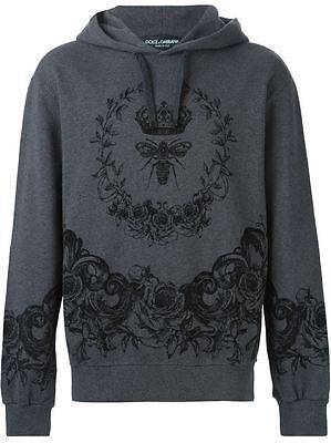 New $795 DOLCE & GABBANA Velvet-Flocked Hoodie Size 48 IT 100% Authentic