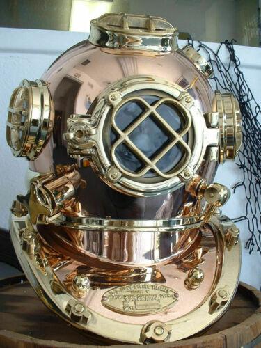 "U.S Navy Copper Brass Diving Divers Helmet Solid Heavy Model Mark V 18"" P216"