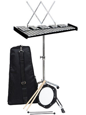32 Notes Glockenspiel Bell Kit W/Practice Pad +Mallets+Sticks+Music Stand & Case