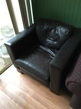 2 leather 1 seater Arm Chairs and 1 x 3 seater sofa bed Putney Ryde Area Preview