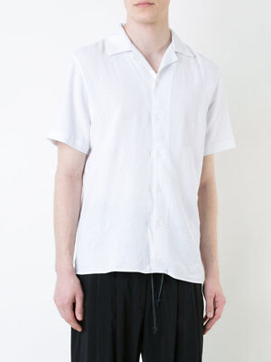 Éditions M.R Mens White Textured Boxy Fit Short Sleeve Button Up Tahiti Shirt 42