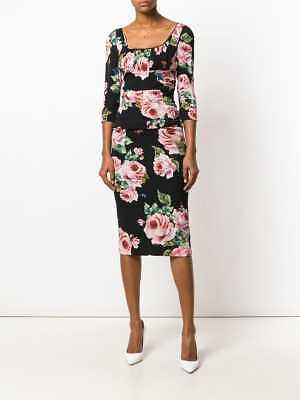 DOLCE & GABBANA Black Rose Print Stretch Silk Ruched Square Neck Midi 46IT 10 US