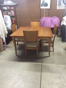 Solid timber square dining table with chairs Coburg Moreland Area Preview