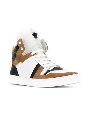 VERSACE Small Medusa Hi-Top Sneakers Shoes White Brown Size EU39 US7 BNWT