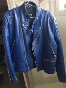 Blue Leather Vintage Biker Jacket IT44 (medium) Carlton Melbourne City Preview