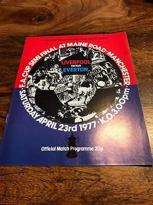 LIVERPOOL V EVERTON 1977 FA CUP SEMI FINAL PROGRAMME MINT FREE POSTAGE LOOK