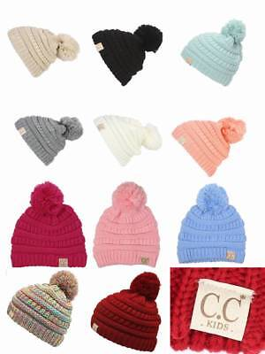 bb858c6aa9d Authentic CC Kids Beanie Baby Toddler Cable Knit Children Pom Winter Hat -16Color