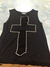 Valleygirl Black singlet with sparkly silver cross Ipswich Ipswich City Preview
