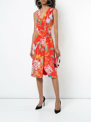 ALICE + OLIVIA Red Greenwich Garden Poppy Floral Print Tasia Silk Wrap Dress 6