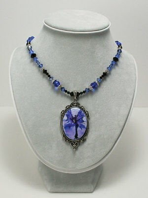Amy Brown Cameo Necklace LUNA SPRITE Fairy Crystal Gem Beaded blue moon wings