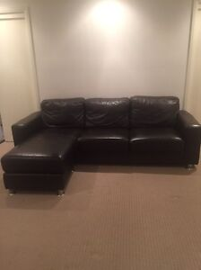 Lounge leather brown 3 seater plus chaise/ottoman reversible Wamberal Gosford Area Preview