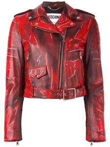 Moschino Red Leather Jacket Size 4