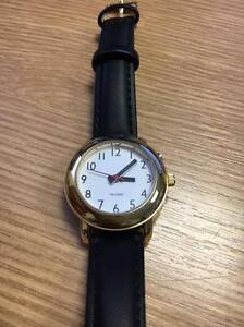 Ladies 35mm Gold Talking Watch,  Leather Strap.