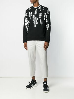 $553 Neil Barrett Sliced Floral Print Sweatshirt XXL Acne Black Rare Norse
