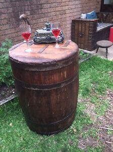 Antique Wooden Wine Barrel Keg Vintage Beer Bar Table 1930's. Cammeray North Sydney Area Preview