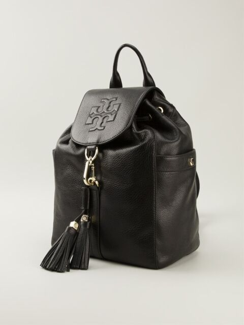 Cyber Tory Burch Authentic Thea Large Black Leather Backpack Bag ...