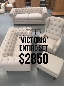 Chesterfield Style Sofa Set - 50% off SALE Eumemmerring Casey Area Preview