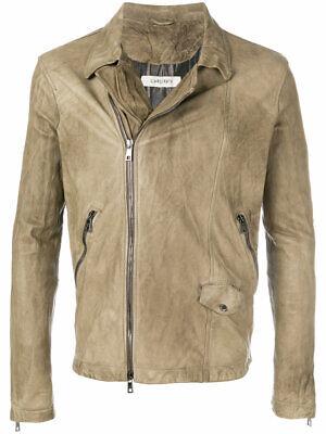 NEW Giorgio Brato Biker Leather Jacket Men Sz. 52 Two Tone Leather & Suede Italy