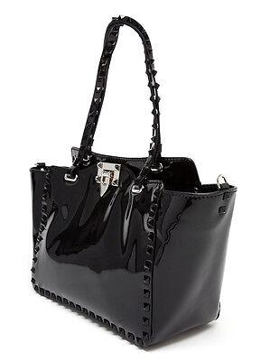 Valentino Garavani Rockstud Large Black Pantent Leather Tote / Bag