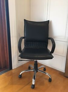 Black leather desk chair Wavell Heights Brisbane North East Preview